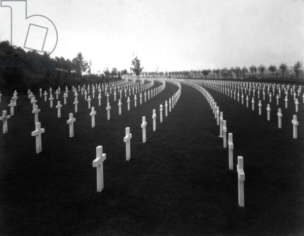 American World War I cemetery in France in 1928. Aisne-Marne American Cemetery is at the foot of the hill where the Battle of Belleau Wood was fought. There are 2,288 graves and a memorial to another 1,060 soldiers missing in action. Belleau, France