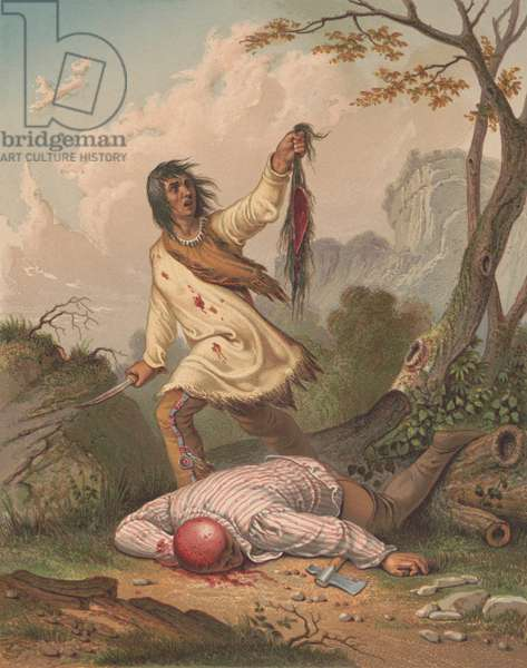 THE DEATH CRY, ca. 1852, lithograph after a painting by Seth Eastman. A Native American holds a knife and scalp over a dead man's body. The victim appears to wear Indian clothing, including leather leggings, a breechcloth, and a striped fabric shirt. Next to his body is his fallen metal hatchet (lithograph)