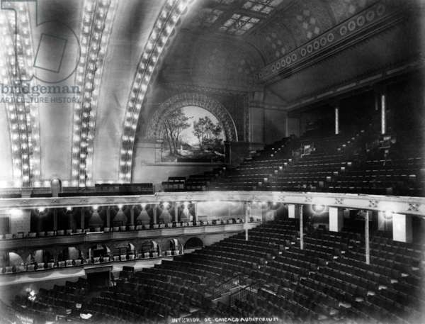 Chicago. The Chicago Auditorium, interior ceiling and stage from the balcony