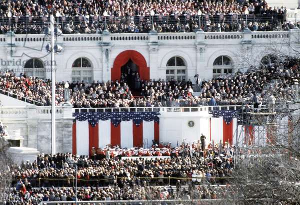First Inauguration of Bill Clinton. Overview of the crowd and decorations on the west front of the Capitol. Jan. 20 1993