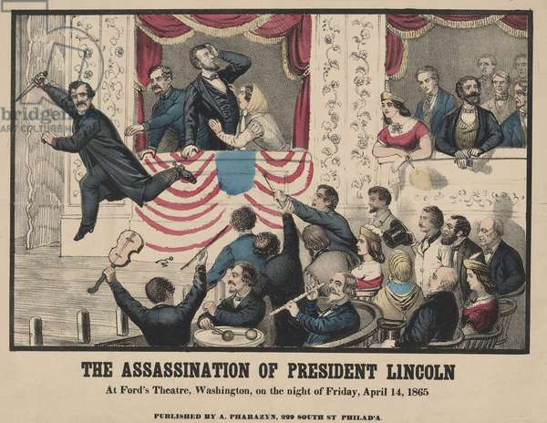 Lincoln assassin, John Wilkes Booth, with knife in hand, jumped from the Presidential box onto the stage of Ford's Theater. April 14th, 1865. Print inaccurately depicts Lincoln standing after he was shot