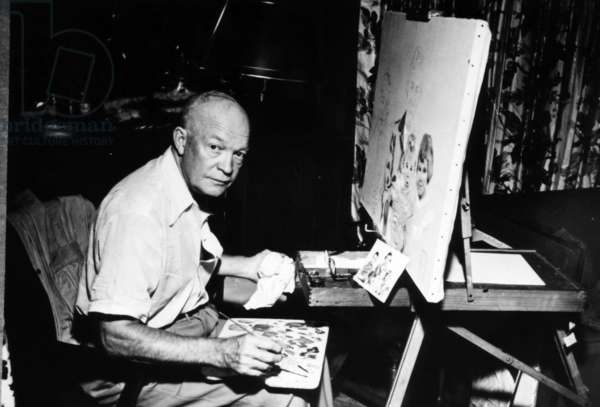 Dwight D. Eisenhower painting at Getty's home. 1949