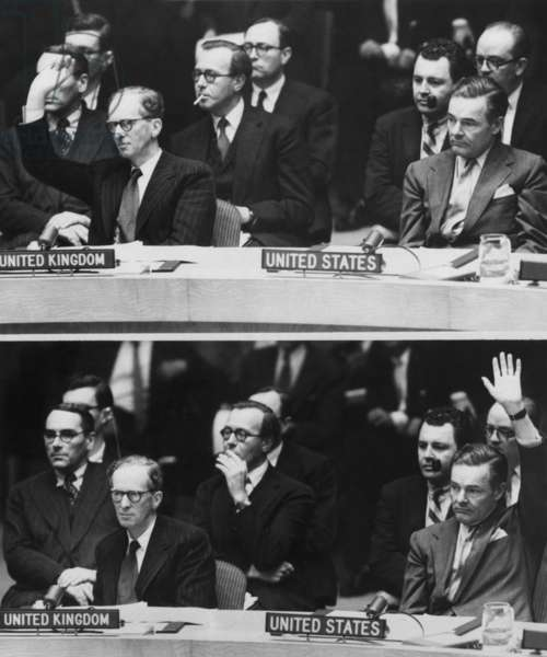The 1956 Suez Crisis strains Anglo-American relations. TOP: Great Britain's Sir Pierson Dixon voting against a UN resolution that Israel withdraw its armed forces from Egypt. BOTTOM: United States delegate Henry Cabot Lodge voting for the proposal. Oct. 31, 1956