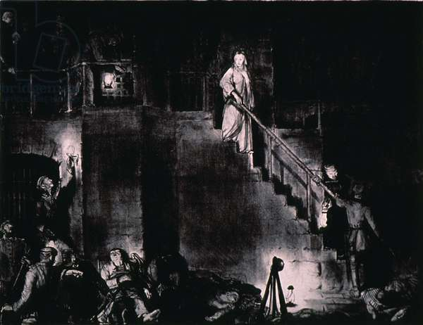 MURDER OF EDITH CAVELL by George Bellows. Edith Cavell, an English nurse, was executed in 1915 for harboring Allied soldiers in German-occupied Belgium during World War I. Lithograph shows armed German soldiers advancing on her from two directions, with an accompanying priest