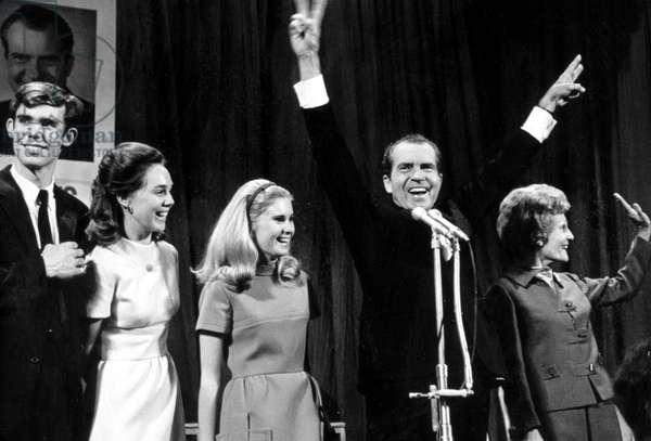 Richard Nixon, celebrates after defeating Hubert Humphrey, 11-06-1968.