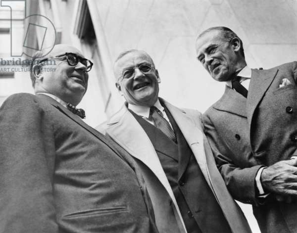 Paul-Henri Spaak, John Foster Dulles, and Richard Gardiner Casey. Spaak first President of the Common Assembly of the European Coal and Steel Community. Casey was Minister of the Commonwealth Scientific and Industrial Research Organization. Dulles was U.S. Secretary of State. 1954
