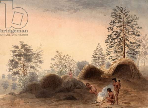 INDIANS AROUND A CAMPFIRE, 1852, by Harrison Eastman, watercolor painting on beige paper. Eastman was a pioneer artist based in San Francisco, painted this Indian camp of four women and a baby. They had primitive shelters and minimal clothing. They gathered roots for food, a practice that led to their pejorative characterization as 'digger Indians' by the newly arrived Euro-Americans (watercolour)