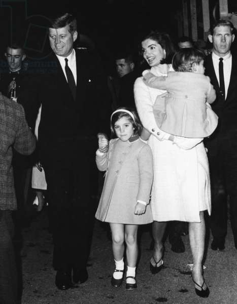 John F. Kennedy, Caroline Kennedy, Jacqueline Kennedy holding John F. Kennedy Jr., November 18, 1963