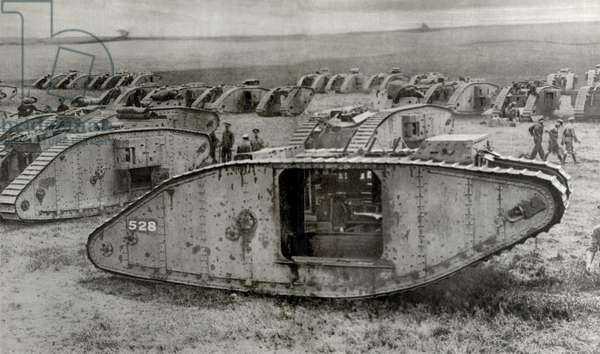 World War 1 Tanks. 'Tankdrome' was a muster zone for tank squadrons on the Western Front. Within easy reach of battle-area tank crews are camped with repair workshops are close at hand, as was petrol and ammunition. c. 1917