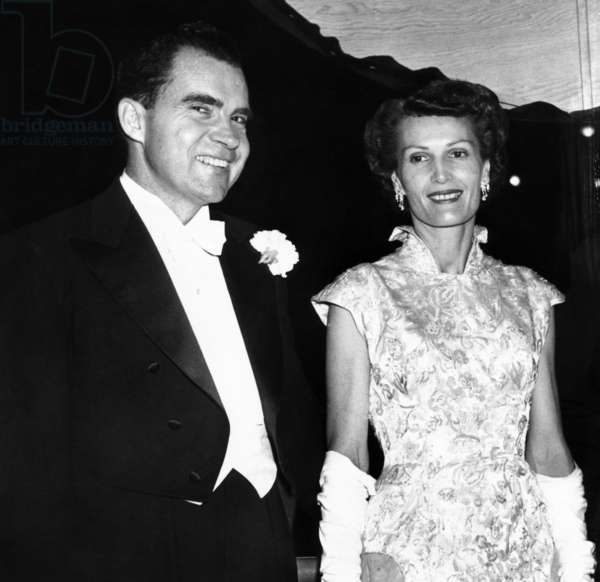 Vice President Richard and Patricia Nixon at pre-inauguration festivities, Jan. 17, 1956