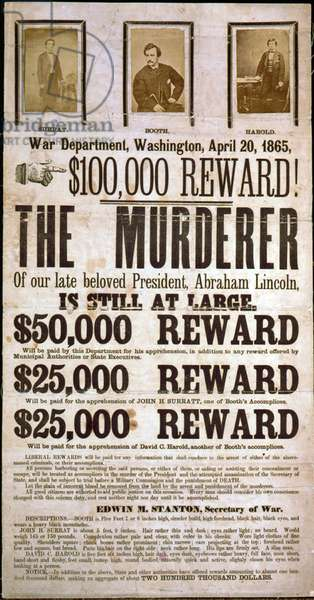 Wanted poster for the assassins of Abraham Lincoln offering a ,000 award. Poster displays images of John Wilkes Booth, John H. Surratt, and David E. Herold