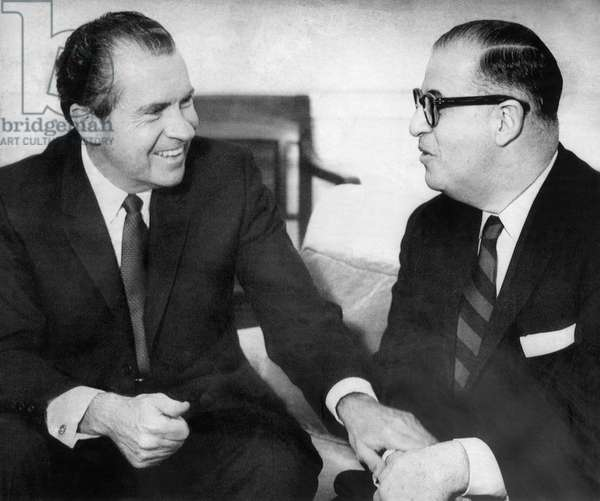 1969 US Presidency. President Richard Nixon meeting with Israeli Foreign Minister Abba Eban, Washington, DC, March, 1969