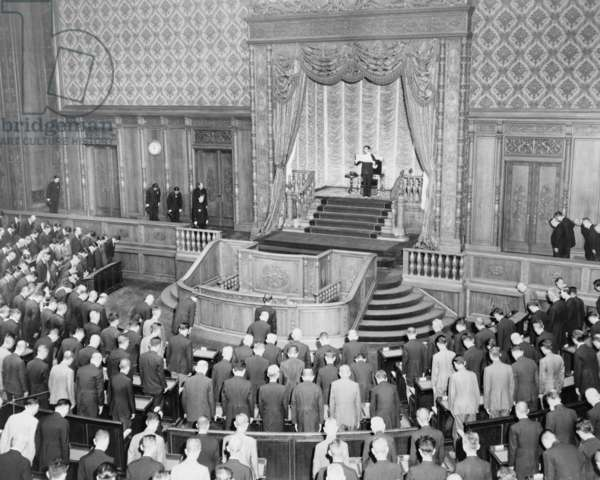 Emperor Hirohito (1901-1989) standing opening the 90th session of the Japanese Diet in June 20, 1946. Following World War II Hirohito assumed to role of a non-divine constitutional monarch