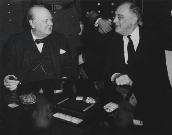 Franklin Roosevelt and Winston Churchill at Casablanca Conference. Jan. 12-23, 1943. Churchill advocated an Allied Invasion of Italy, while Roosevelt proposed an amphibious invasion across the English Channel