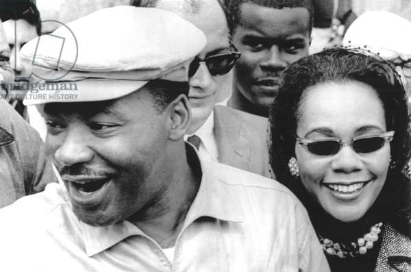 Martin Luther King Jr. and Coretta Scott King on the Selma-to-Montgomery freedom march, 3/24/65.