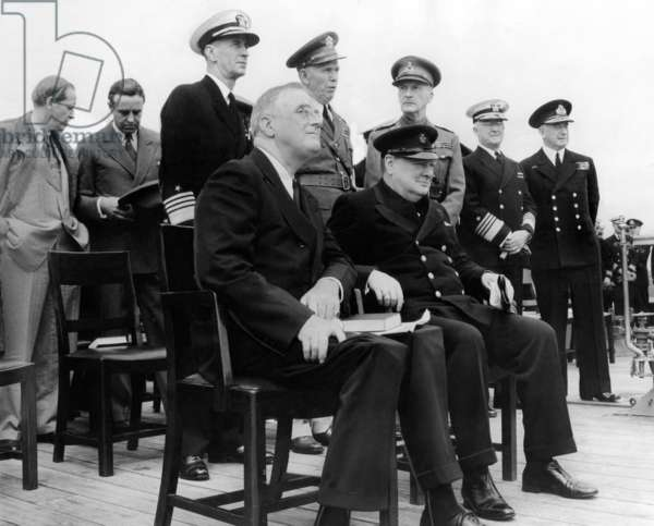 The Atlantic Conference, Franklin Roosevelt & Churchill with their chief advisors aboard H.M.S. Prince of Wales, Aug. 12, 1941