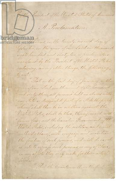 The Civil War. The manuscript of the Preliminary Emancipation Proclamation, which stated that slaves in those states or parts of states still in rebellion as of January 1, 1863, would be declared free. September 22, 1862