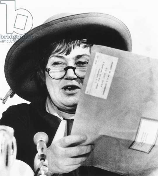 Congresswoman Bella Abzug held her CIA file, built since 1963, when she was a lawyer. March 5, 1975. At a House Committee hearing on privacy rights, she had an angry exchange with CIA Director William Colby