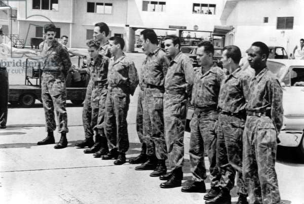 BAY OF PIGS INVASION: Ten anti-Castro Cuban rebel prisoners land in Miami after their release by Castro, following the failed U.S. supported invasion of Cuba, May, 1961