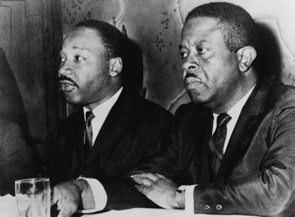 Martin Luther King, Jr. (1929-1968), and Ralph Abernathy (1926-1990), at press conference, Baltimore, Maryland in 1965
