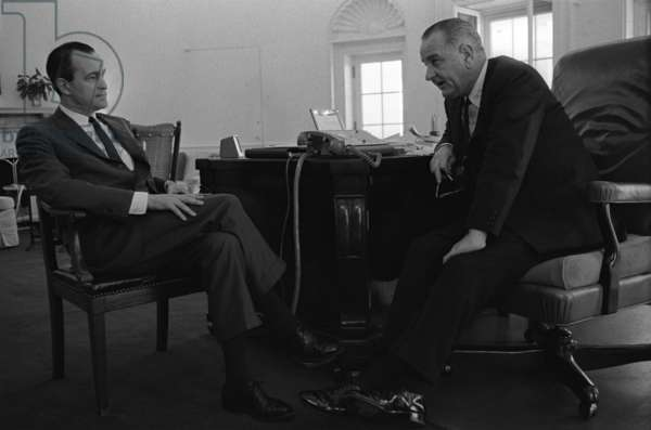 President Lyndon Johnson meets with Richard Helms. Johnson appointed Helms CIA Director in 1966.Oval Office, White House, April 8, 1965