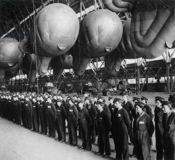 Battle of Britain, World War 2. Women's Auxiliary Air Force balloon operators report for inspection before going off duty after training. c. 1940-41