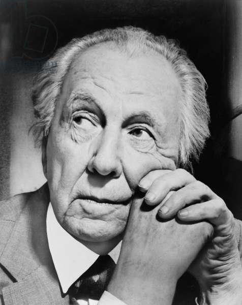 Frank Lloyd Wright (1867-1959) master American architect in 1954