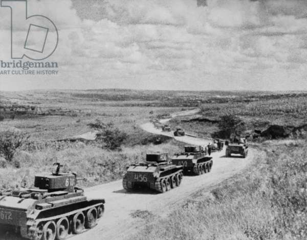 Convoy of Soviet (Russian) tanks in Romania during the annexation of Bessarabia, Romania, in 1940. Bessarabia, was one of several Eastern European regions occupied by USSR according to the terms of the Nazi–Soviet Non-Aggression Pact of 1939. World War 2