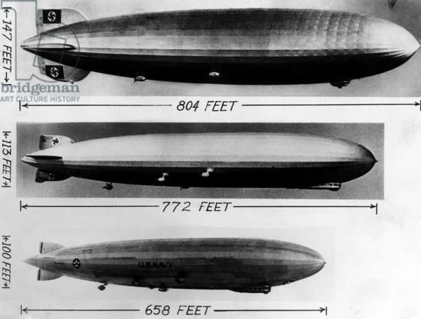 The LZ 129 Hindenburg (top), at 804 feet, in comparison to the Graf Zeppelin (center), at 772 feet, and the Old Los Angeles (bottom), at 658 feet, c.1936