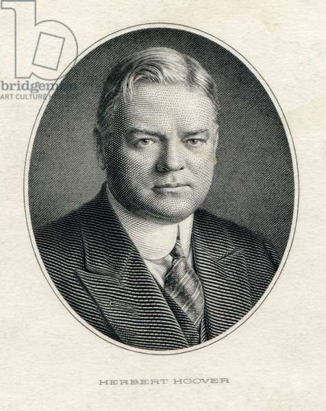 President Herbert Hoover in his official portrait engraving, c. 1929