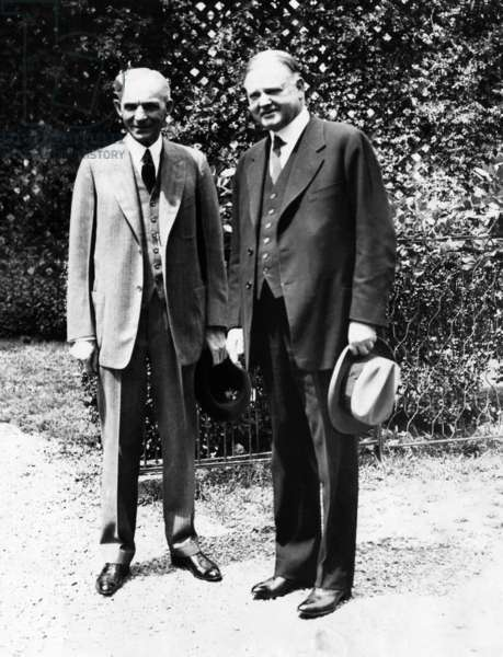 Henry Ford, and President Herbert Hoover at the White House. Washington DC, c. 1930s