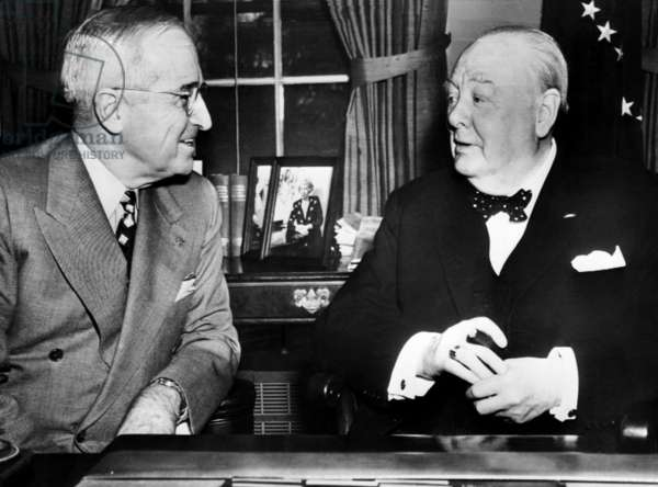 President Harry Truman and Prime Minister Winston Churchill in their final conference at the White House, 1952
