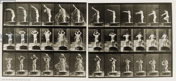 Photographic motion study of a women pouring a basin of water over her head by Eadweard Muybridge. c. 1884-87