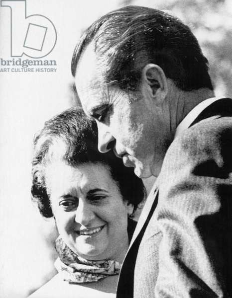 1971 US Presidency. Prime Minister of India Indira Gandhi and President Richard Nixon, 1971
