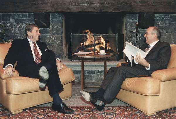 President Reagan and General Secretary Gorbachev at the Summit in Geneva appearing relaxed during what was actually a contentious first summit meeting. on Nov. 11 1985