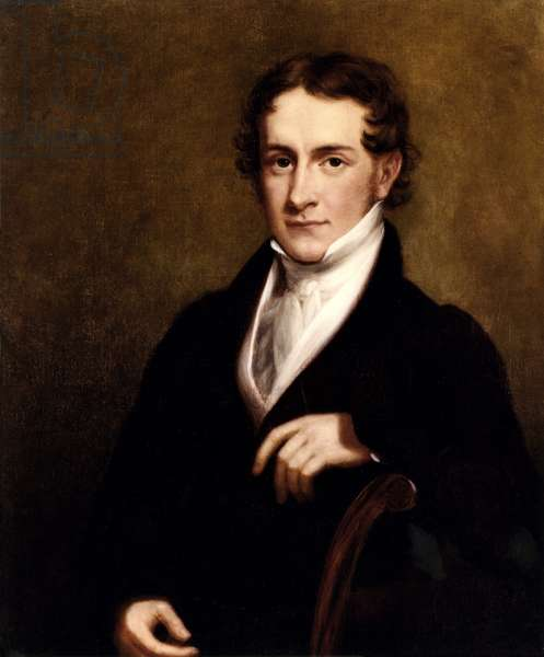 CHARLES FRANCIS ADAMS, by Charles Bird King, 1827, American painting, oil on canvas. At the time of this portrait, Adams was a 20 year old Harvard graduate studying law with Daniel Webster. Three decades later he served as US Ambassador to Britain during the critical years of the US Civil War (oil on canvas)
