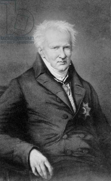 """Alexander von Humboldt (1769-1859) German scientist and explorer of Central and South America from 1799 to 1804. In his later years, he wrote """"Kosmos"""" to unify scientific knowledge. 1855 portrait"""