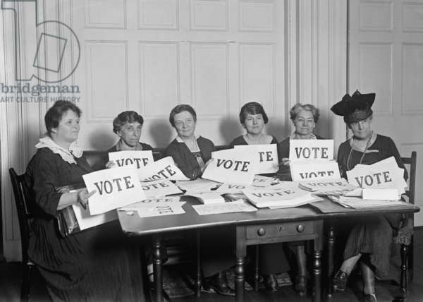 National League of Women Voters hold up signs reading, 'VOTE', Sept. 17, 1924. Millions of women voted in 1920 and 1924, but in a lower proportion than men