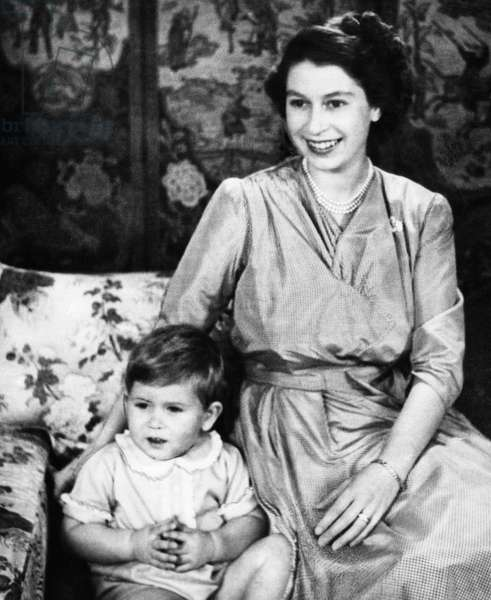 British Royal Family. Future Prince of Wales Prince Charles and Princess (and future Queen) Elizabeth of England, 1950