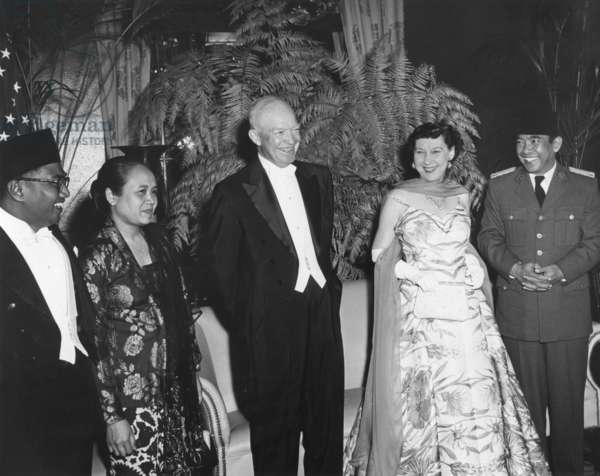 President and Mrs. Eisenhower at a dinner given in their honor by the Indonesia's, Sukarno. Mayflower Hotel, May 18, 1956.