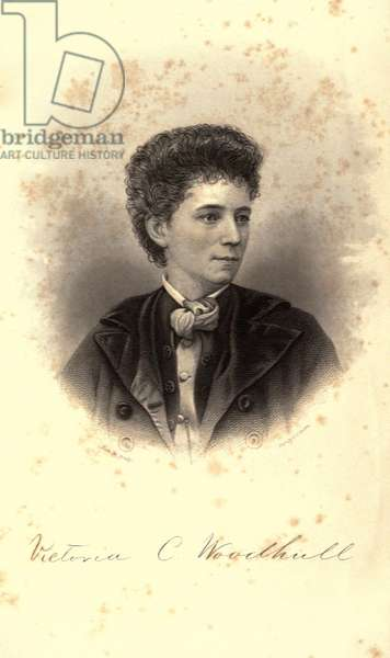 Victoria Woodhull, notorious radical feminist, wearing her hair in an unconventional short style. This engraving appeared as the frontispiece of the 1871 polemic, THE ORIGIN, TENDENCIES AND PRICIPLES OF GOVERNMENT