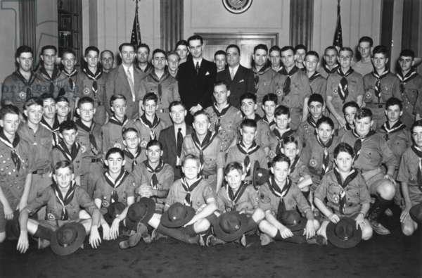 Congressman Lyndon Johnson and FBI Director J. Edgar Hoover with Texas Boy scouts, c. 1937-39.
