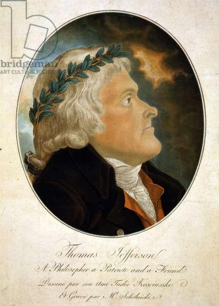 Thomas Jefferson, color aquatint afte a 1799 painting by Tadeusz Kosciuszko