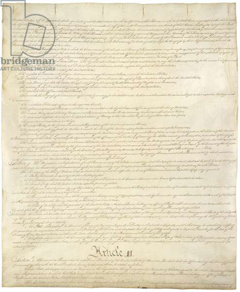 Constitution of the United States of Americ. Second of four pages of the National Archives copy created in the Constitutional Convention in 1787