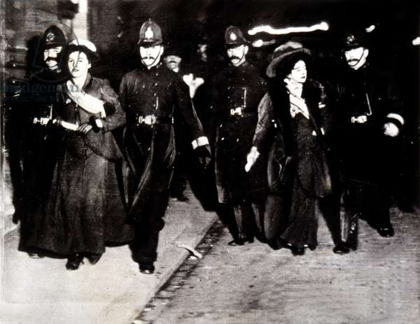 Militant suffergettes are arrested in London, 1910s