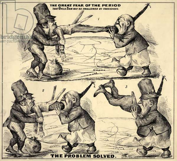 Immigration. 'The great fear of the period That Uncle Sam may be swallowed by foreigners. The Problem Solved'. Cartoon of Chinese and Irish immigrants devouring Uncle Sam. lithograph c. 1860s