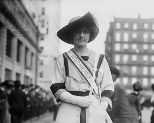 Inez Milholland (1886-1916), beautiful young women's rights advocate, labor lawyer, and socialist during a New York City suffrage parade. c. 1913-16. Julia Ormond played Millholland in the 2004 movie IRON JAWED ANGELS