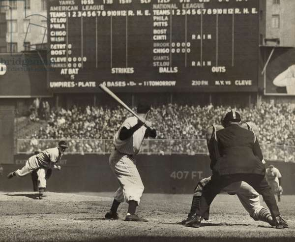 Cleveland Indians', Bob Feller, pitching to New York Yankees' Joe DiMaggio. April 30, 1946. Frankie Hayes was catching, and the umpire is Eddie Rommel. Feller went on to pitch a no-hitter, with catcher Frankie Hayes hitting a home run in the 9th inning for the only run of the game.