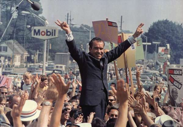 Richard M. Nixon campaigning for the presidency, 1968