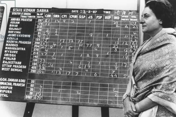 Indian Prime Minister Indira Gandhi beside a bulletin board showing early election returns. Feb. 28, 1967. With ballots counted for 500 of the 521 seats in the lower house of Parliament, the Congress Party captured 276 seats. By a slim margin, Gandhi remained Prime Minister